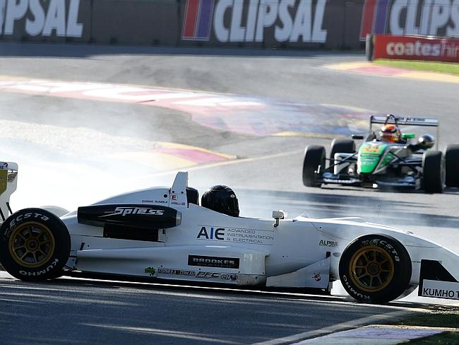 Dennie Rumble slides out into the chicane during the Formula 3 qualifying. Picture: Sarah Reed.