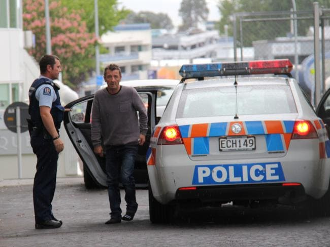 Phil Rudd arrives at court in Tauranga wearing no shoes. Credit: SunLive.co.nz
