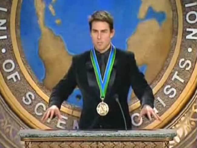 Tom Cruise speaks at a Scientology conference. Pic via 'Gawker' video grab.
