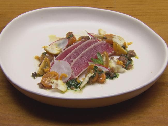 Simple Italian cooking ... Laura Cassai's Seared tuna with anchovies & tomato reduction, salsa verde and toasted chestnuts.