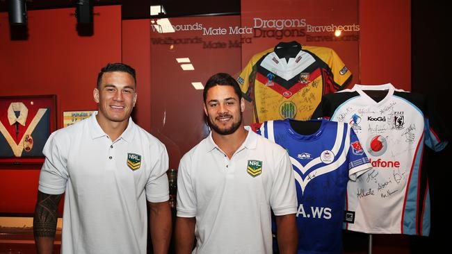 Sonny Bill Williams and Jarryd Hayne with the Samoan and Fiji jumpers at the launch of the NRL Pacific Strategy initiative at Rugby League Central. pic. Phil Hillyard