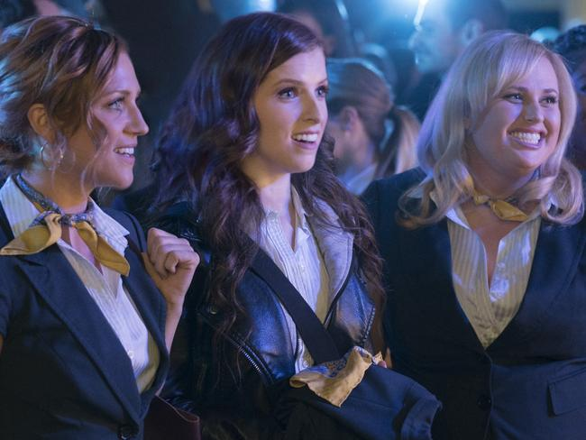 Brittany Snow, Anna Kendrick and Rebel Wilson in a scene from film Pitch Perfect 3