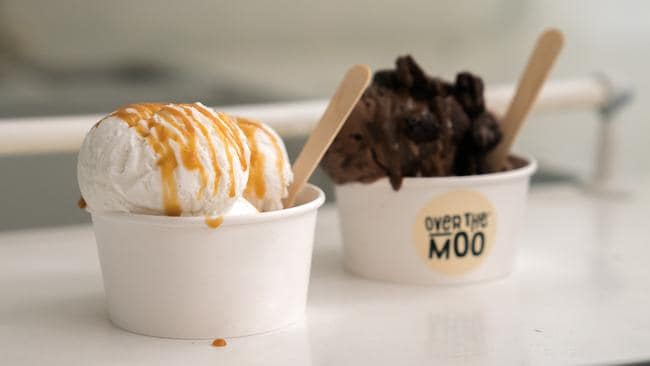 Two of the Over the Moo flavours — salted caramel and chocolate.