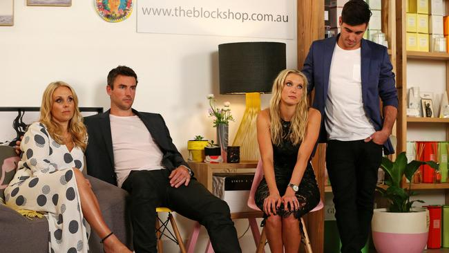 Glum and glummer ... The Block Glasshouse auctions where the mood was sombre after both Deanne and Darren's and Maxine and Karstan's apartments don't achieve the prices they expected. Picture: Mark Stewart