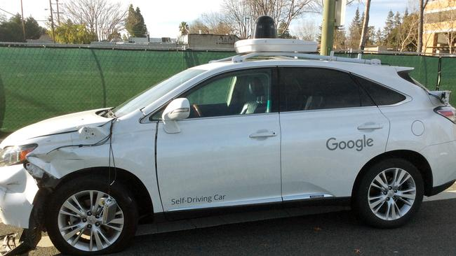 This photo provided by the Santa Clara Valley Transportation Authority shows damage to a self-driving Lexus SUV, operated by Google, after it collided with a bus.Picture: Santa Clara Valley Transportation Authority via AP