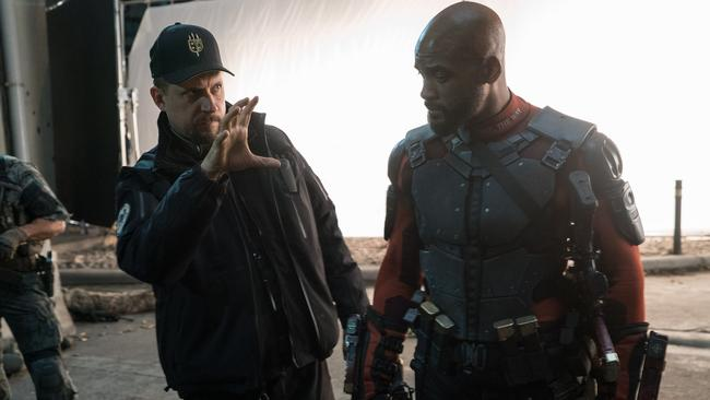 Smith in his Deadshot gear on the Suicide Squad set with director David Ayer (Warner Bros. Pictures)Source:Supplied