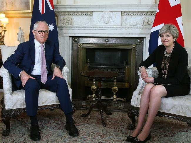 Theresa May met with Australian PM Malcolm Turnbull at Downing Street overnight. Picture Kym Smith