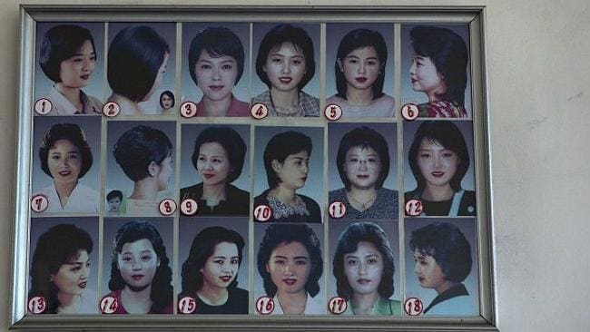 Looking good ... Haircuts women could choose in North Korea.
