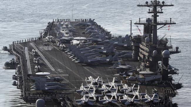 US Navy aircraft carrier, the USS Carl Vinson, which is heading towards North Korea. Picture: AP.