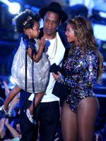 Rapper Jay Z and singer Beyonce with daughter Blue Ivy Carter onstage during the 2014 MTV Video Music Awards at The Forum on August 24, 2014 in Inglewood, California. Picture: Getty