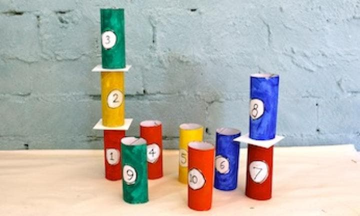 Toilet roll tower of numbers