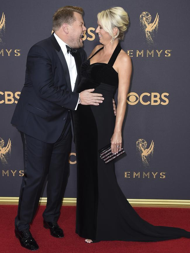 James Corden and Julia Carey attend the 69th Annual Primetime Emmy Awards at Microsoft Theater on September 17, 2017 in Los Angeles. Picture: AP
