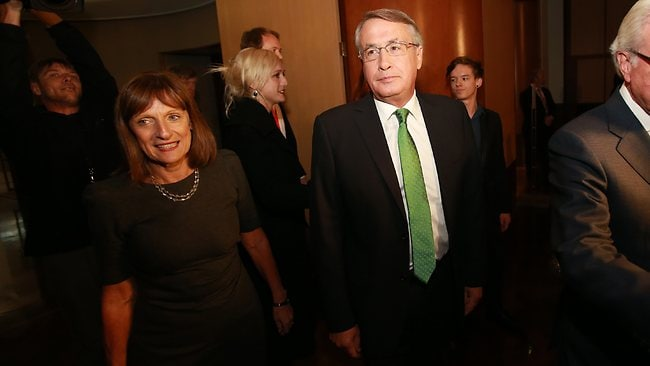 Wayne Swan with his wife Kym entering the National Press Gallery in the Great Hall of Parliament House in Canberra. Picture: Gary Ramage
