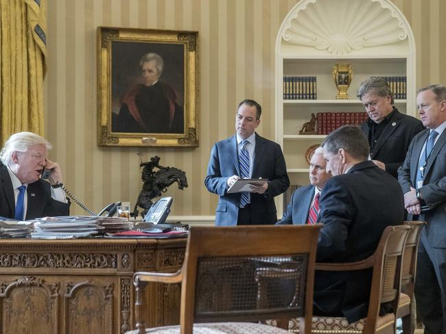 US President Donald Trump and his Vice President Mike Pence are the only men left standing from this photo in the oval office after inauguration day in January. Gone are former chief of staff Reince Priebus, former chief strategist Steve Bannon, former press secretary Sean Spicer and former national security adviser Michael Flynn. Picture: AP