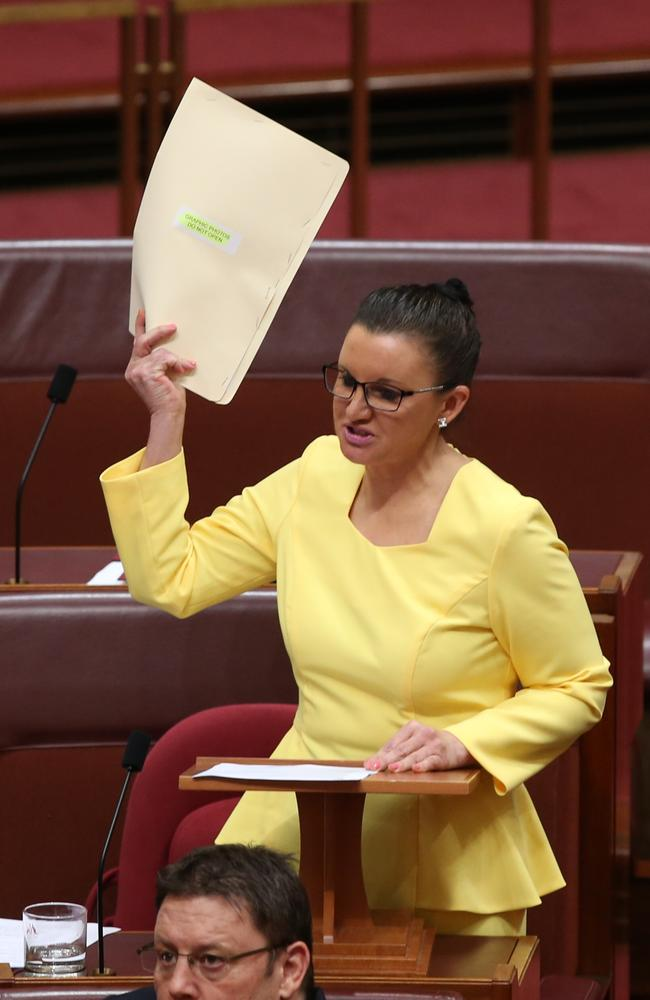 Fair go ... Senator Jacqui Lambie gets animated during her passionate maiden speech at Parliament House.