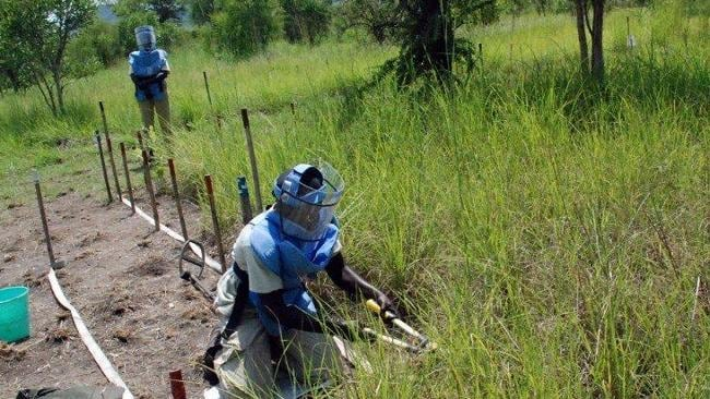 A Southern Sudanese woman clears grass and soil around a suspected landmine in South Sudan. AFP PHOTO/PETER MARTELL
