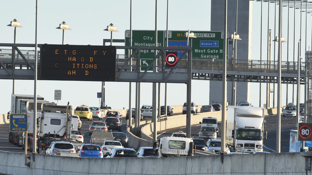The pain will soon be over for motorists on a 9km stretch of CityLink including the Bolte Bridge. Picture: Rob Leeson.