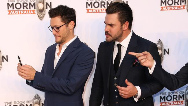 Rob Mills and Ben Mingay on the red carpet for The Book Of Mormon opening night. Picture: Richard Milnes/MEGA