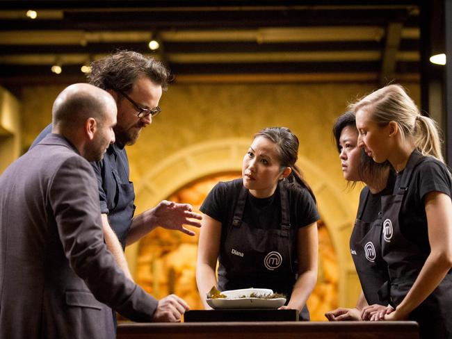 MasterChef Australia: George Calombaris and Shuan Quade show the Pearl on the Ocean Floor to Diana Chan, Sarah Tiong and Karlie Verkerk. Picture: Network Ten