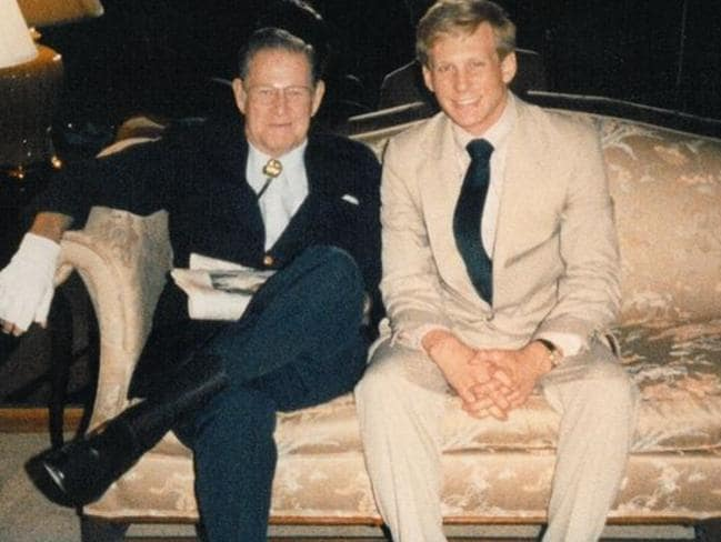 Todd Blodgett (right) in 1985 with President Reagan's brother Neil.