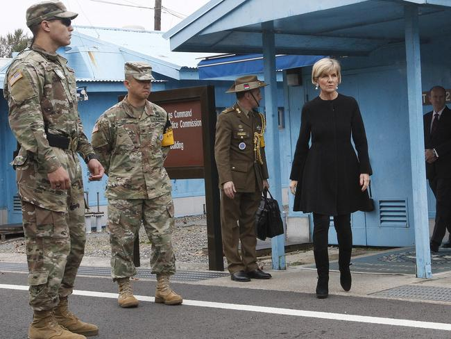 Australian Foreign Minister Julie Bishop, second from right, comes out from the Neutral Nations Supervisory Commission room at the border village of Panmunjom in Paju, South Korea. Picture: AP