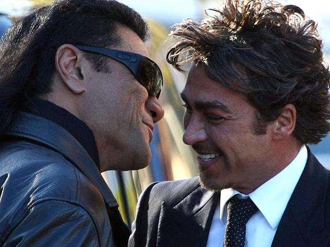 Tongan Sam greets John Ibrahim with a hug and kiss. John Ibrahim at St Mary's Cathedral, Sydney. John Ibrahim is the Godfather to Frankie Amante.
