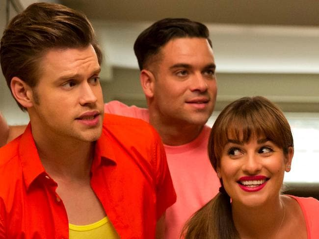 Glee star ... Sam (Chord Overstreet), Puck (Mark Salling) and Rachel (Lea+Michele). Picture: Channel Ten