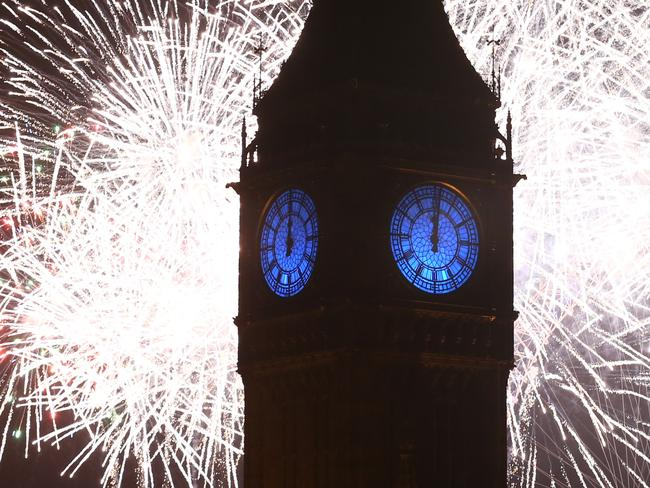 Fireworks light up the London skyline ... and Big Ben. Picture: Getty