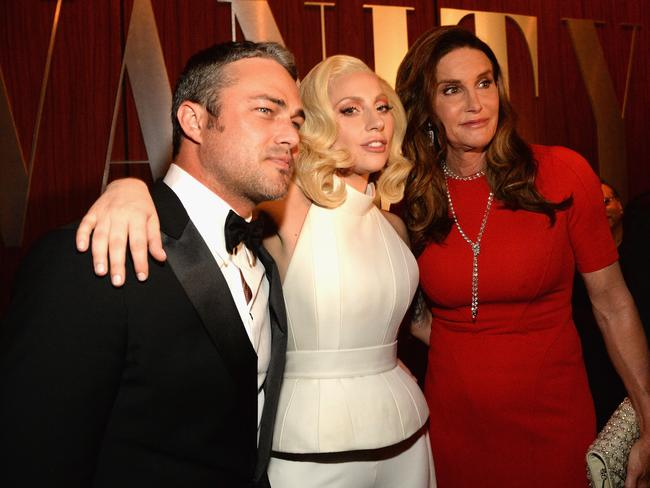 Taylor Kinney, Lady Gaga and Caitlyn Jenner attend the 2016 Vanity Fair Oscar Party on February 28, 2016 in Beverly Hills, California. Picture: Kevin Mazur/VF16/WireImage