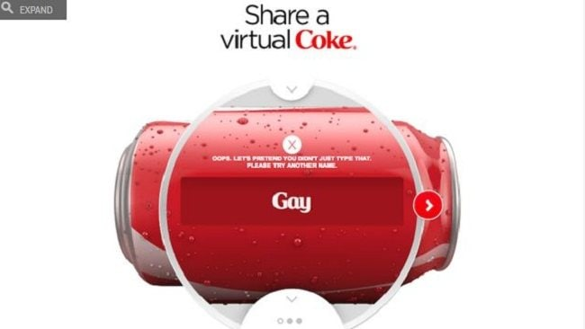 Coke has banned the word 'gay' from being printed on its cans.