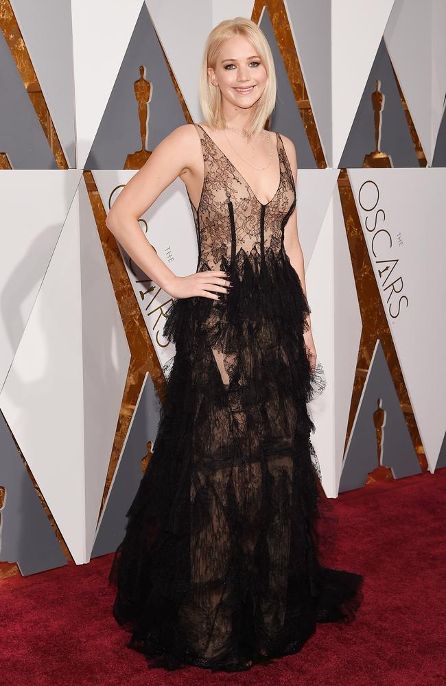 Jennifer Lawrence attends the 88th Annual Academy Awards on February 28, 2016 in Hollywood, California. Picture: Getty