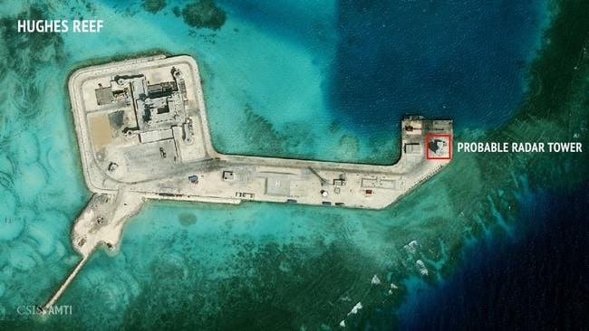 Experts say it will allow China to extend its influence to the south, affecting any country that uses the popular shipping lanes, including Japan, the US and Australia. Picture: CSIS Asia Maritime Transparency Initiative/DigitalGlobe