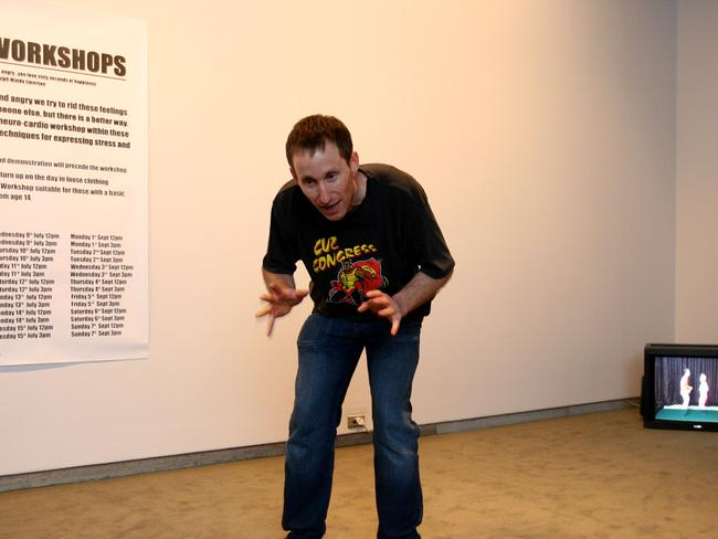 Issues-based art ... Performance artist Stuart Ringholt demonstrates his anger workshop at the Art Gallery of NSW as part of the 2008 Biennale of Sydney. Picture: News Corp Australia