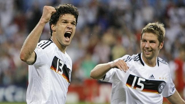 Taking a stand ... Germany player Thomas Hitzlsperger (right) with team-mate Michael Ballack. Hitzlsperger recently came out.