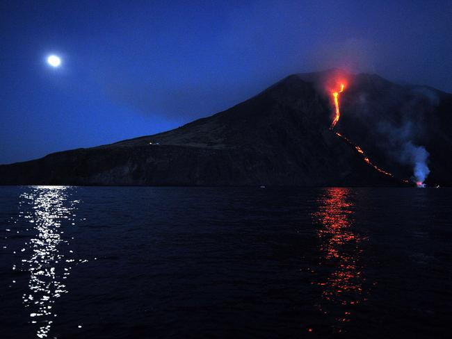 Lava from the Stromboli volcano flows into the sea. Picture: AFP
