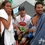 <p>Celebrity Surf Off at Manly Beach in 2006. A worried Megan Gale with Michael Slater and Pat Rafter before event started.</p>