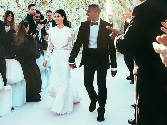 Extravagant: Kim Kardashian and Kanye West's wedding. Picture: Kim Kardashian's Instagram account