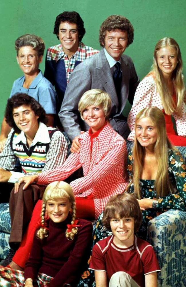 Cast of the television program 'The Brady Bunch'. (L to R, top) Ann B Davis, Barry Williams, Robert Reed, Eve Plumb, (middle) Christopher Knight, Florence Henderson, Maureen McCormick, (bottom) Susan Olsen and Mike Lookinland.