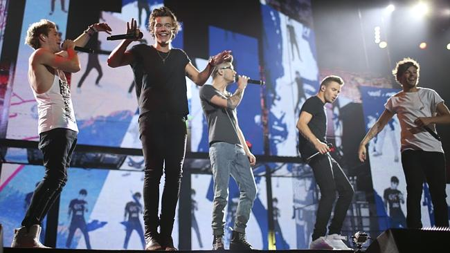 Aussie boyband 5SOS pranked tour mates One Direction during their final show in Melbourne. Picture: AP Photo/Jeff Wheeler