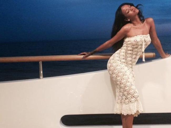 Rihanna strikes a pose aboard a luxury yacht in the Mediterranean. Picture: Twitter