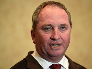 Deputy Prime Minister and leader of the National Party Barnaby Joyce, takes questions from the media at his campaign event, in Tamworth on Saturday, July 2, 2016. Joyce is facing strong competition from Independent Tony Windsor, who previously held the seat of New England from 2001 to 2013. (AAP Image/Dan Himbrechts) NO ARCHIVING