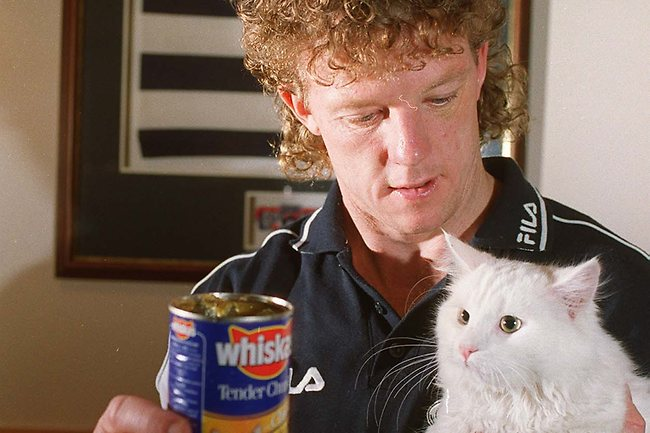 """Cats captain Garry Hocking became """"Whiskas"""" for one round in 1999 in order to boost Geelong's coffers. Picture: Cameron L'Estrange."""