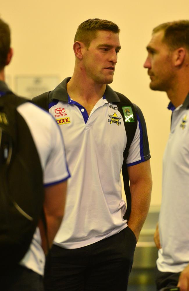 North Queensland Cowboys arrive back at Townsville airport after losing to the Eels in Sydney.