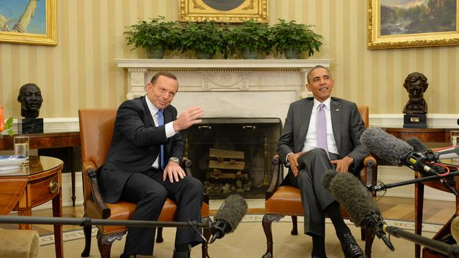 The meeting between Tony Abbott and Barack Obama in the Oval Office of The White House was extended and included many of the US President's closest advisers. Picture: Jake Nowakowski