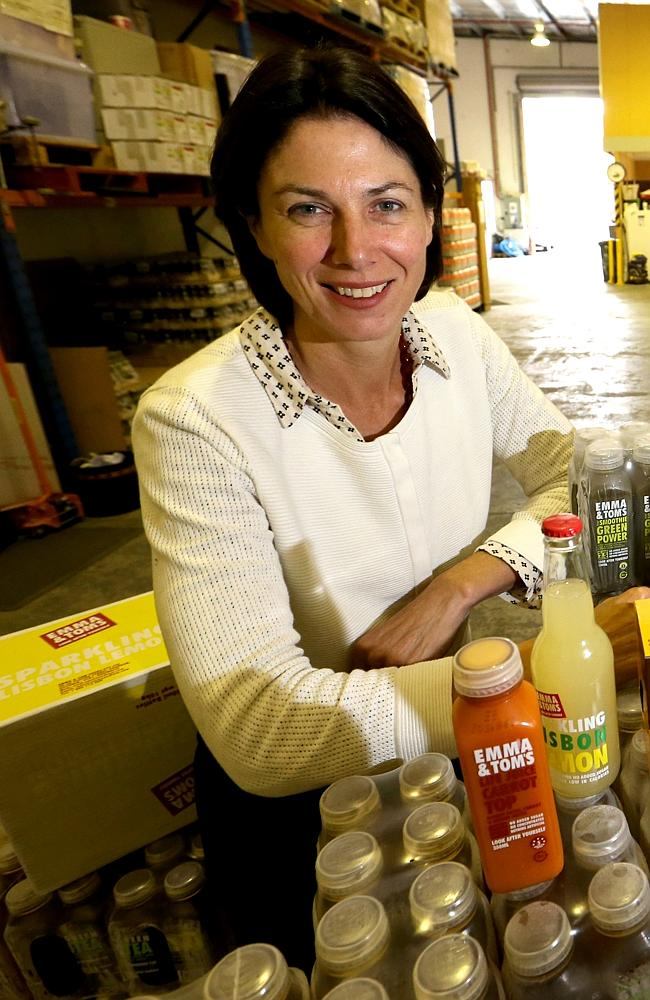 Emma Welsh, from Emma & Tom's at the company warehouse in Prahran, Melbourne. Picture: David Geraghty/The Australian