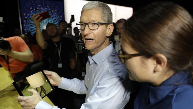 Apple CEO Tim Cook shows an iPad Pro at WWDC in San Jose, Calif. Picture: AP Photo/Marcio Jose Sanchez.