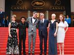 Millicent Simmonds, Jaden Michael, Brian Selznick, Todd Haynes, Michelle Williams and Julianne Moore pose as they arrive on May 18, 2017 for the screening of their film 'Wonderstruck' at the 70th edition of the Cannes Film Festival in Cannes, southern France. Picture: AFP