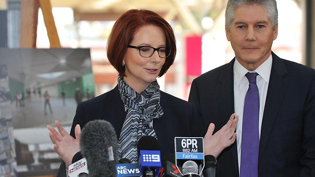 Stephen Smith with Julia Gillard in Perth yesterday says Sattler should quit. Picture: Justin Benson-cooper