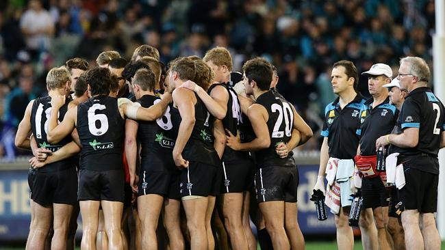 Port captain Travis Boak addresses his side in the semi-final loss to Geelong.