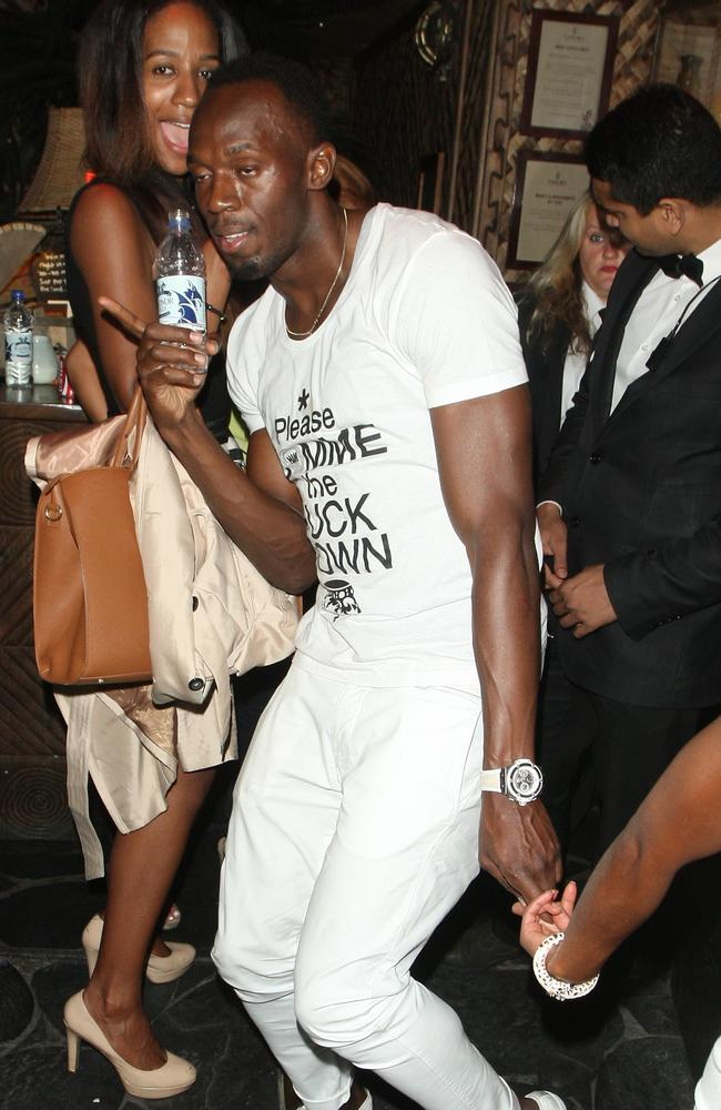 Usain Bolt seen clubbing at the Mahiki nightclub before heading to another London club early Saturday morning. Picture: Splash